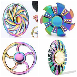 Wholesale Toy Metal Fish - Hand Spinner Spin 2Mins EDC Fidget Spinner Hand Fingertip Gyro Magic Anti-Anxiety Toys Metal Rainbow Plating Fire Tires Butterfly Fish Round