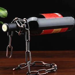 Wholesale Metal Wine Stand - Creative Chain Ring Wine Rack Magical Suspended Free Stand Chain Wine Holder Metal Handicraft Home Decor In Stock WX-C49