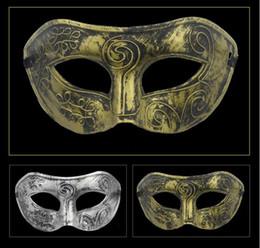 Wholesale Vintage Halloween Masks - Men's retro Greco-Roman Gladiator gold masquerade masks Vintage Golden Silver Mask silver Carnival Mask Mens Halloween Costume Venetian mask
