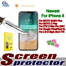 Wholesale Zte Grand X Screen - For Coolpad Catalyst ZTE Zmax Pro Z981 MOTO Z Force Tempered Glass Screen Protector E4 Plus Coogle Pixel ZTE Grand X Max With Retail Packing