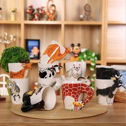 Wholesale Ceramic Coffee Mugs Spoons - (10 piece) 3D ceramic cups pure hand - painted animal cup personalized painted cups creative coffee mug large - capacity mug.