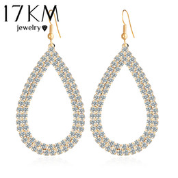 Wholesale Top Crystal Earings - 17KM Hot Selling Jewellery Stores Top Quality Fashion Design Big Crystal Water Drop Earings For Women Bridal Brand Jewelry