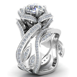 Wholesale Cz Bridal - 925 Sterling Silver Flower Leaf Round Cut Clear CZ Diamond 4.50CT Wedding Bridal Ring
