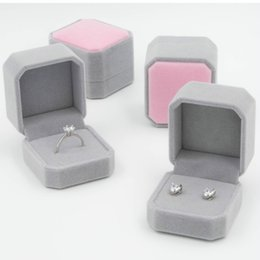 Wholesale Velvet Ring Jewelry Box - New arrival jewelry boxes Velvet octagonal ring boxes 5 * 5 * 4cm earrings jewelry boxes free shipping