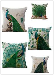Wholesale Green Peacock Bedding - 45*45cm Elegant Green Peacock Throw Pillow Case Cushion Cover Decorative Pillow Cover Sofa Bed Car