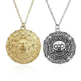 Wholesale Caribbean Colors - 3 Colors Movie Pirates Of The Caribbean Skull Necklace Jack Sparrow Aztec Coin Medallion Vintage Gold Bronze Silver Pendant Wholesale