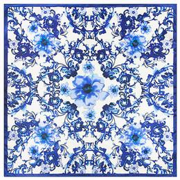 Écharpes en soie en Ligne-Gros- 60 cm * 60 cm nouveau style chinois rétro bleu et blanc porcelaine dame écharpe en soie petite simulation