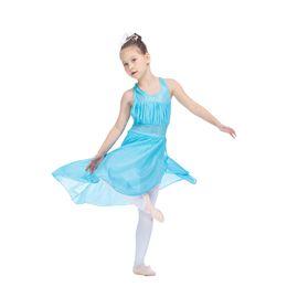 Wholesale Child Leotard Skirt - Children Halter Leotard Dress with Mesh Overlay Skirt Girls Latin Dancing Ladies Performance Costume Full Sizes Colors Available