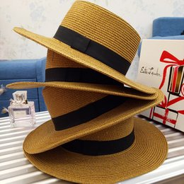 Wholesale Blue Straw Cowboy Hats - 2017 New Fashion Straw Hats For Woman Hot ladies church hats Wide Brim Hat Floppy Summer Beach Straw Hat For Woman Gift