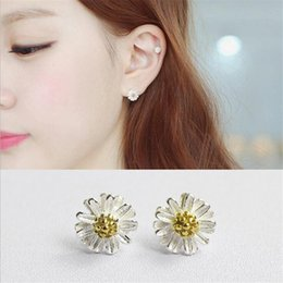 Wholesale 925 Sun Earrings - Inlay Gold Plated Sun Flower Style 100% 925 Sterling Silver 2 Tones Stud Earring Fine Jewelry For Women Girls Birthday Gifts
