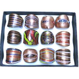 Wholesale Lampwork Glass Rings Wholesale - Mix Designed Lampwork Art Glass Rings, Golden Series Of Classical Style Murano Rings Pack of 12pcs