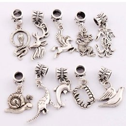 Wholesale Dinosaur Dragon - mixed Dinosaur Dragon Snake Horse Crab Dolphin Charm Beads 100pcs lot Antique Silver Dangle Fit European Bracelets Jewelry DIY BM15