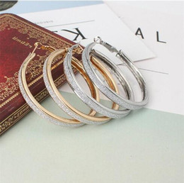 Wholesale Silver Big Round Earrings - An irregular foreign trade big European fashion earrings matte punk round single ear ring earrings
