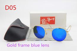 Wholesale European Sunglasses Brands - European and American fashion men's sunglasses brand designer 48mm50mm gold frame driving fishing color film glasses to send glasses b
