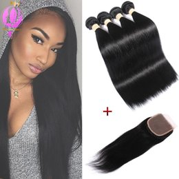 Wholesale 4x4 Swiss Lace Closure - Human Hair With Closure Straight Free Part Lace Closure 4X4 Size Swiss Lace Top Closure Natural Color Brazilian Straight Virgin Hair Bundles