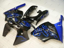 Wholesale Blue Zx9r - Full Body Kits Zx-9r 94 95 ABS Fairing Zx9r 1995 Black Blue Flame Fairing Kits Zx 9r 1997 1994 - 1997