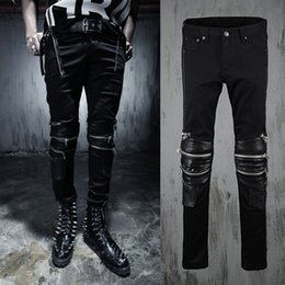 Wholesale Pu Leather Pants - Wholesale-Men Punk Biker Jeans Black PU Leather Spliced Motorcycle Jeans Zippered At Knees New 2016 Celebrity Same Style Free Shipping