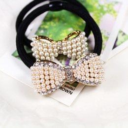 Wholesale Stylish Pearl Rings - 1PC Stylish Women's headband Lovely Pearl diamond Bow hair ring Flowers Tousheng