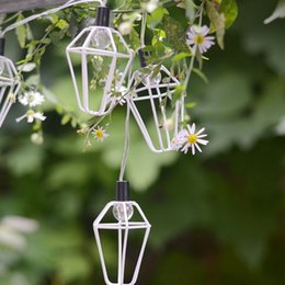 Discount small white led battery - LED small house iron frame light string creative room decorative lights LED lantern string 10 lamp hanging string