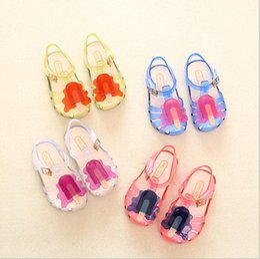 Wholesale Sandals Plastic Shoes - 2017 Colorful Mini Sed Popsicle High Quality Kid's Sandals Soft Leather Rain Boots Buckle Strap Charm Children Shoes