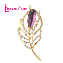 Wholesale Rhinstone Pins - Wholesale- New Luxuriant Famous Brand Jewelry Gold Color WIth Rhinstone Colorful Crystal Feather Shape Brooch for Fashion Lady and Girl