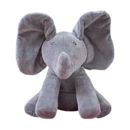 Wholesale Ear Animals - 30CM Plush ANIMATED FLAPPY the ELEPHANT plush toy PEEK A BOO SINGING baby music toy Ears Flap & Move funny toys