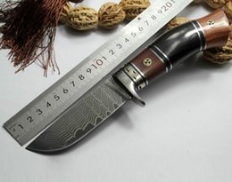 Wholesale Hand Forging Knives - Free Shipping 2017 new outdoor outdoor life outdoor hand forging pattern steel Damascus wild knife gift