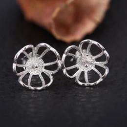 Wholesale White Gold Stud Earring Sets - Fine Silver 925 Sterling Silver Plated White Gold 6-9mm Pearl Semi Mount Women Stud Earrings Jewelry Setting