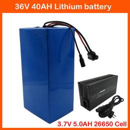 li 3.7v comprimido Desconto Livre taxa aduaneira 36 V 40AH bateria De Lítio 1500 W 36 V 10 S Uso Da Bateria Ebike 3.7 V 5.0AH 26650 células Com 50A BMS 42 V 3A carregador