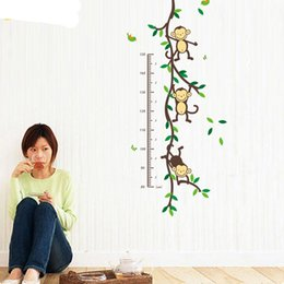 Wholesale Growth Chart Monkey - Height Chart Wall Decals Naughty Monkey Cartoon Decor Stickers for Kids Bedroom for Nursery Playroom wall sticker