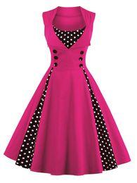 Wholesale Retro Crew Necks - 7 color Plus size Summer Women Red polk dot vintage Audrey hepbum 50s Rockabilly robe Retro Party Dress Feminino Vestidos