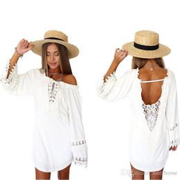 Wholesale Cap Sleeved Dresses - Beach Dresses Casual Loose Blouse Sexy Mini Dress Fashion Lace Bikini Cover Ups Chiffon Long-Sleeved V Neck Vestidos Women Clothing B2239