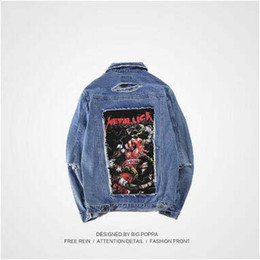 Wholesale Men Sleeveless Jean - 2017 Newest Vintage Frayed Hole Denim Jacket Patch Designs Wash Rock Jean Jacket Blue Black Denim Coats Fashion Brand Men's Jacket