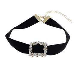 Wholesale Necklaces Fabric - Latest Design Black Suede Fabric Wide Choker Necklaces with Rectangle Metal Full of Rhinestones for Women