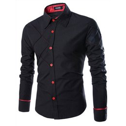 Wholesale Wholesale Wear Work Clothing - Wholesale- Fashion Autumn Men Shirt Brand Clothing Cotton Long Sleeve Turn-down Collar Dress Shirts Office Work Wear Casual Button Shirt Y1