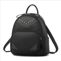 Wholesale Korean Back Packs - Fashion Women Backpacks Small Rivet Pu Leather Student Backpack Preppy Style Backpack Girls Women's Bags Back Pack