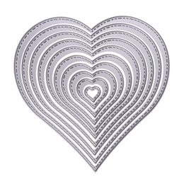 Wholesale Photo Album Heart - 2017 10pcs Heart Sewing Thread Stencils Metal Cutting Dies For DIY Scrapbooking Photo Album Decorative Embossing Folder Die Cut