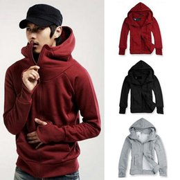 Wholesale Zipper Gloves - Men's Slim Hoodies Sweatshirts Solid Hooded Cotton Hoodies Outwear Clothing Spring Autumn Casual Coat Gloves Hooded plus velvet sweater