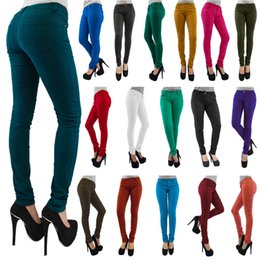 Wholesale popular pants - Free Shipping NEW Women Popular Plus Size Cotton Slim Colorful Mid-Rise Pants Denim Jeans Pencil CL127