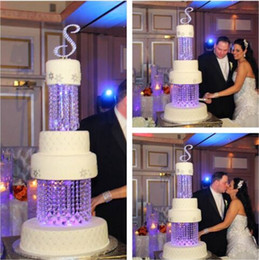 """Wholesale Acrylic Square Stand - 2Tier Crystal Chandelier Cake Stand Round or Square- 8"""" & 10"""" adorned with sparkling acrylic crystals and tear drop pendants"""