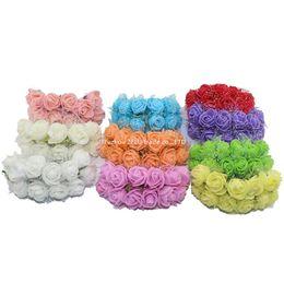 Mini-sträuße online-Großverkauf-144pcs / Paket 2.5CM Silk Multicolor künstliche Blumen PET Rose Schaum Mini Blumenstrauß einfarbig / Hochzeit Dekoration 5ZJS013
