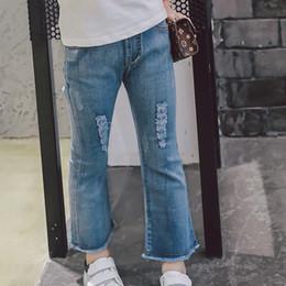 Wholesale Kids Leggings Jeans - Fashion Korean 2017 new tassels hole Girls Jeans Children blue Leggings Jeans Denim Skinny Ripped Kids Trouser Toddler Jeans Clothing A449