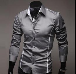 Camisas elegantes para homens on-line-2017 Mens Moda de Luxo Elegante Casual Designer de Camisa de Vestido Muscle Fit Camisas 3 Cores 5 Tamanhos