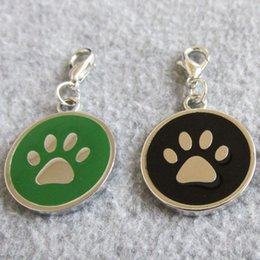Wholesale Id Tags For Dogs - 50pcs lot Circle shape Paw design Zinc Alloy Pet Dog ID Tags for small dogs cats