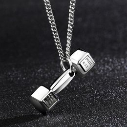 Wholesale Ti Pendant Necklace - Fitness dumbbell barbell titanium steel men's necklace domineering pendant couple creative pendant male and female Japan and South Korea ti