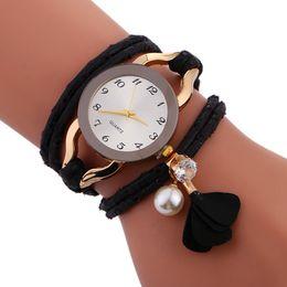 Wholesale Wrist Watch Beads - fashion 2017 new women rope weave bracelet watch simple casual ladies dress quartz wrist bead tassel jewelry wholesale watches