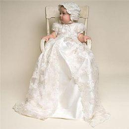 2019 robes de baptême filles 3t Baptême Robe Enfants Robe De Baptême Baptême Filles Robes Longue Dentelle Deux Pièce Bébé Vêtements Douche Tissu De Fête robes de baptême filles 3t pas cher