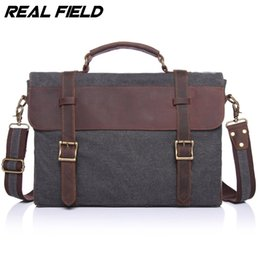 Wholesale file slots - Wholesale- Real Field RF Men Business Messenger Bag Canvas Briefcase Retro Computer Vintage Document Crossbody Casual A4 Files Handbags 145