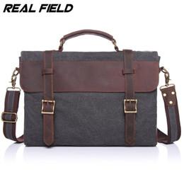 Wholesale Bag File Briefcase - Wholesale- Real Field RF Men Business Messenger Bag Canvas Briefcase Retro Computer Vintage Document Crossbody Casual A4 Files Handbags 145