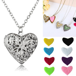 Wholesale Brass Censer - Exquisite Vintage Perfume Heart Necklace Essential Oil Diffuser Locket Necklace Censer Women Gift Support FBA Drop Shipping B388Q